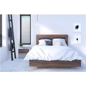Ens. de chambre à coucher double, 3 mcx, blanc/noyer