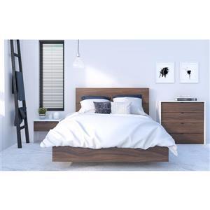 Ens. de chambre à coucher double, 4 mcx, blanc/noyer