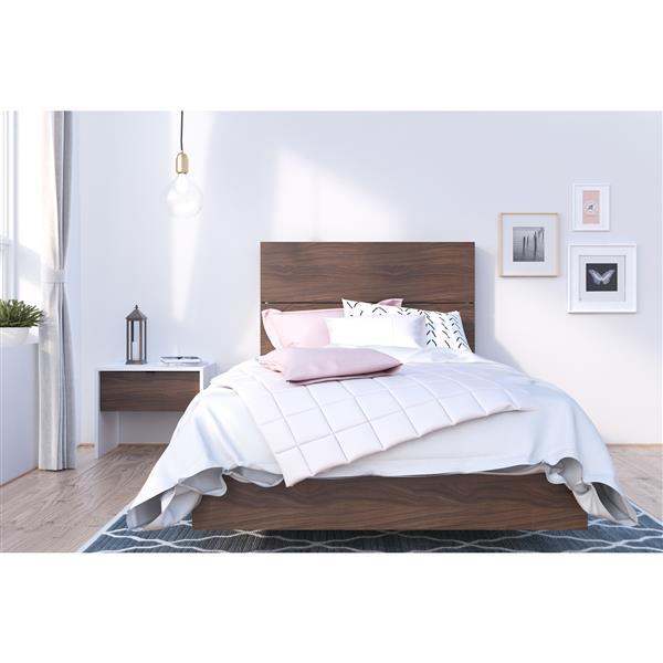 Ens. de chambre à coucher simple, 3 mcx, blanc/noyer