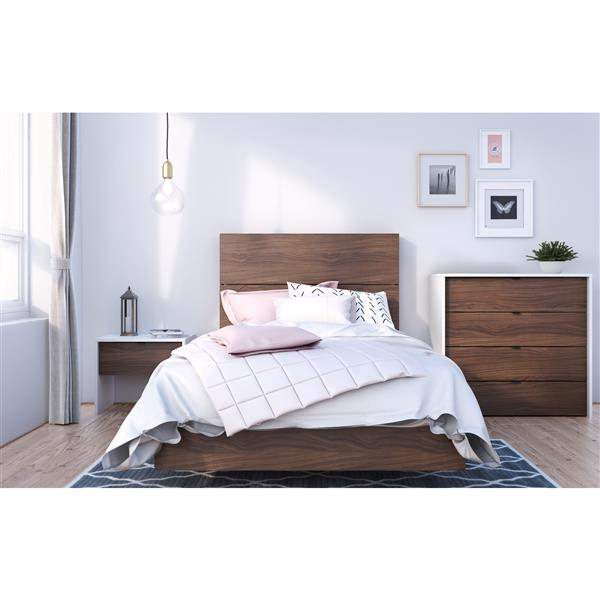 Nexera Identi-T 4 Piece White and Walnut Twin Bedroom Set