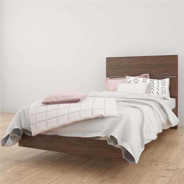 Ens. de chambre à coucher Nexera simple, 2 mcx, noyer