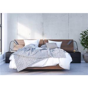 Sonoma 4 Piece Walnut and Black Queen Bedroom Set