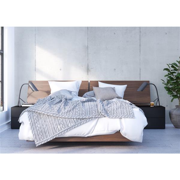 Ens. de chambre à coucher Sonoma grand lit, 4 mcx, brun/noir