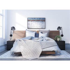 Ens. de chambre à coucher Sonoma double, 4 mcx, brun/noir