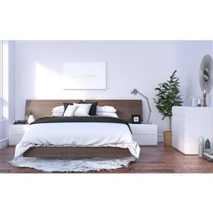 Nexera Denali 5 Piece Walnut and White Queen Bedroom Set