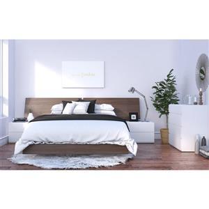 Ens. de chambre à coucher grand lit, 5 mcx, blanc/noyer