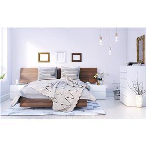 Ens. de chambre à coucher Denali double, 5 mcx, blanc/noyer