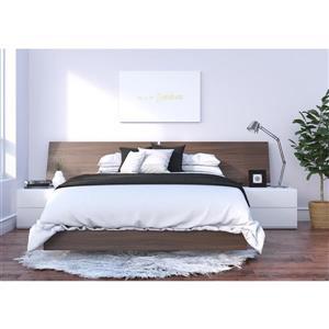 Ens. de chambre à coucher grand lit, 4 mcx, blanc/noyer