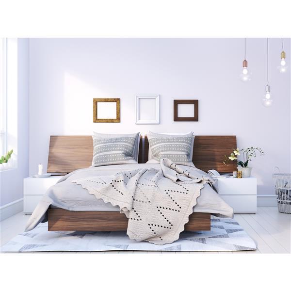 Nexera Denali 4 Piece Walnut and White Full Bedroom Set