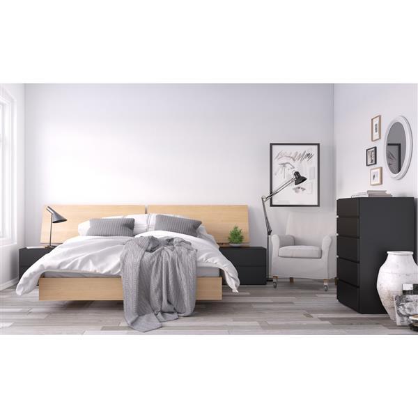 Nexera Muse 5 Piece Black and Maple Queen Bedroom Set