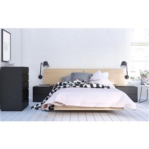Muse 5 Piece Black and Maple Full Bedroom Set
