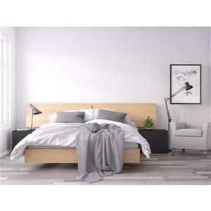 Muse 4 Piece Black and Maple Queen Bedroom Set