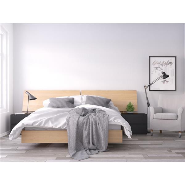 Ens. de chambre à coucher grand lit, 4 mcx, noir/érable
