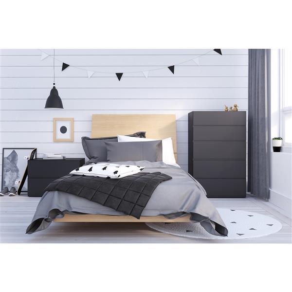 Ens. de chambre à coucher Muse simple, 4 mcx, noir/érable
