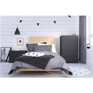 Muse 4 Piece Black and Maple Twin Bedroom Set