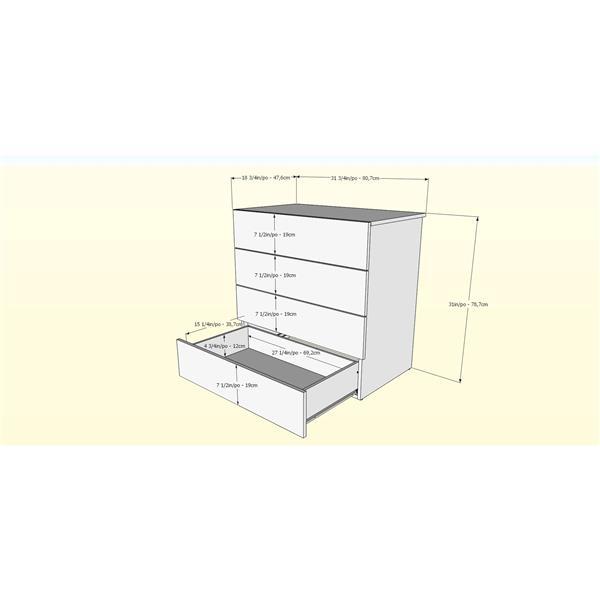 Nexera Karla 4 Piece Black and Maple Queen Bedroom Set