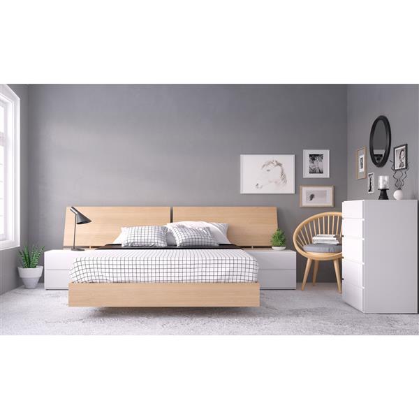 Ens. de chambre à coucher grand lit, 5 mcx, balnc/érable