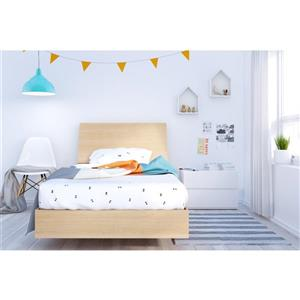 Ens. de chambre à coucher Fiji simple, 3 mcx, blanc/érable