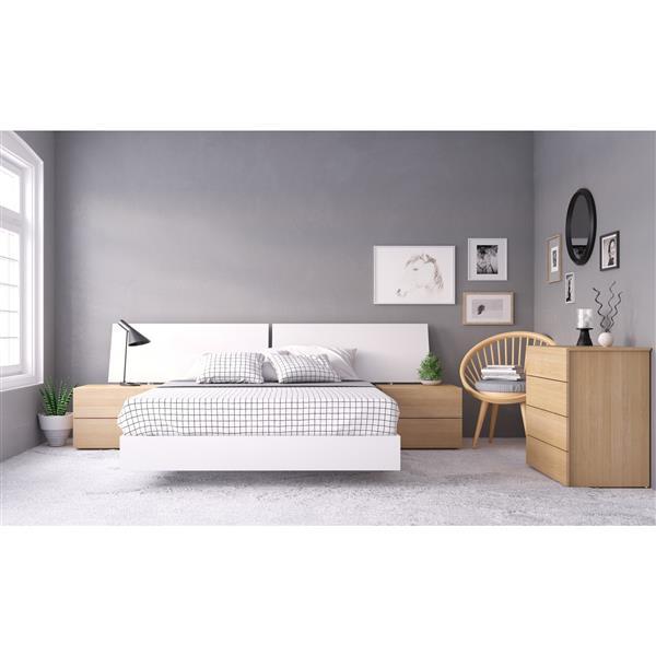 Nexera Esker 5 Piece Maple and White Queen Bedroom Set