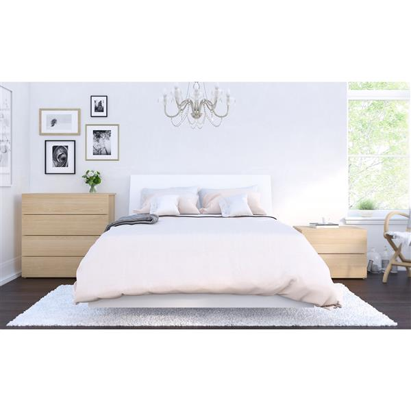 Ens. de chambre à coucher Esker double, 4 mcx, blanc/érable