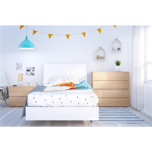 Nexera Esker 4 Piece Maple and White Twin Bedroom Set