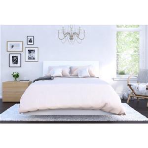 Ens. de chambre à coucher Esker double, 3 mcx, blanc/érable