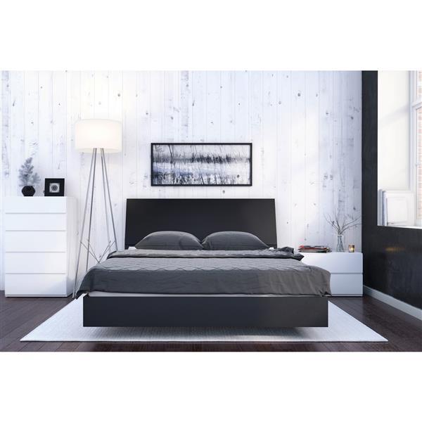 Nexera Ocra 4 Piece Black and White Queen Bedroom Set