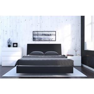 Ens. de chambre à coucher grand lit, 4 mcx, blanc/érable