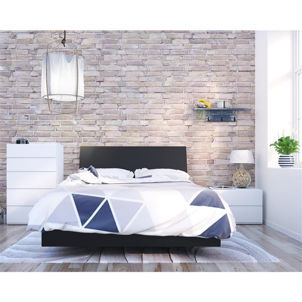 Ens. de chambre à coucher Orca double, 4 mcx, blanc/érable