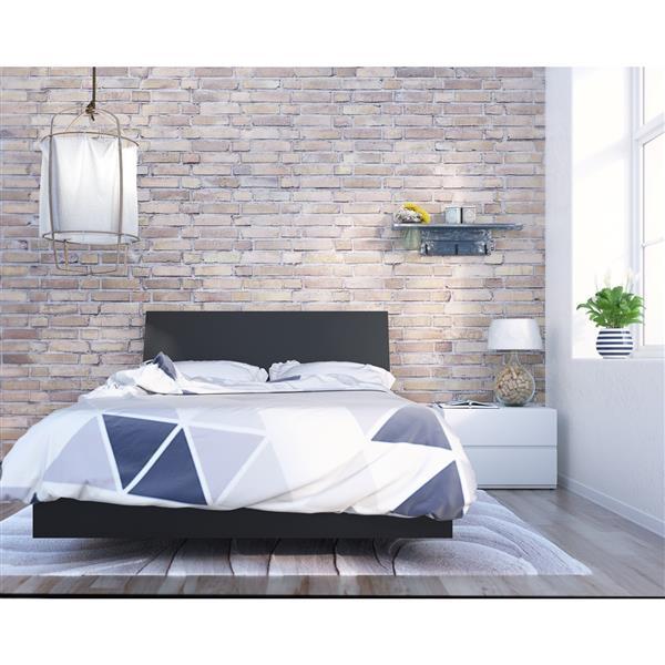 Ens. de chambre à coucher Orca double, 3 mcx, noir/blanc