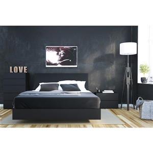 Ens. de chambre à coucher Corbo grand lit, 4 mcx, noir