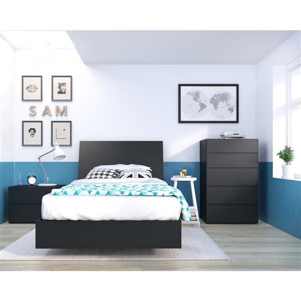 Ens. de chambre à coucher Corbo simple, 4 mcx, noir