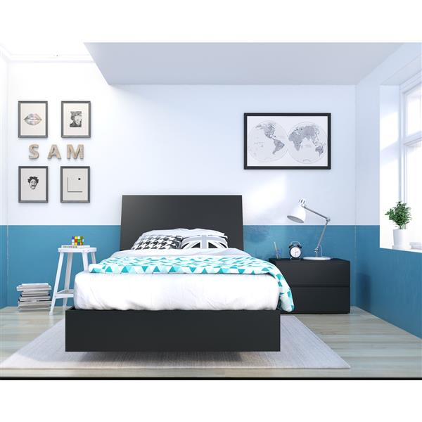 Nexera Corbo 3 Piece Black Twin Bedroom Set