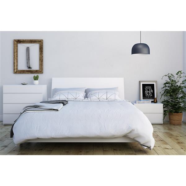 Ens. de chambre à coucher Paris grand lit, 4 mcx, blanc