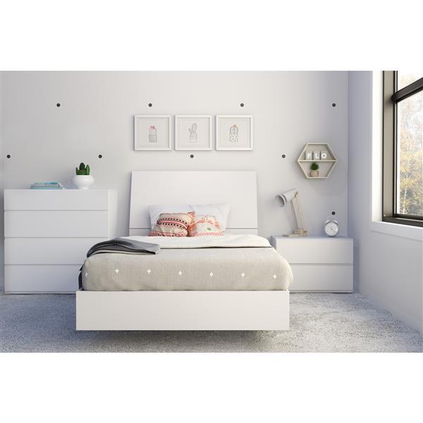 Ens. de chambre à coucher Paris simple, 4 mcx, blanc