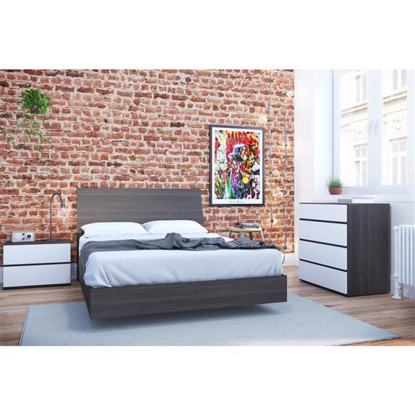 Nexera Momentum 4 Piece White and Ebony Twin Bedroom Set