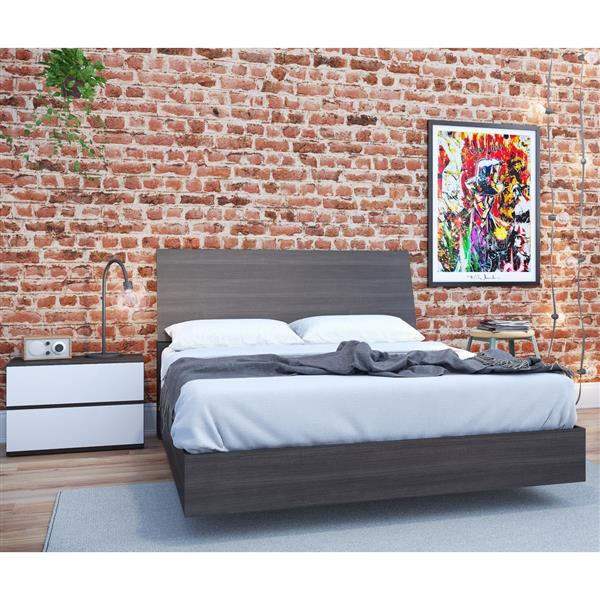 Nexera Momentum 3 Piece White and Ebony Twin Bedroom Set