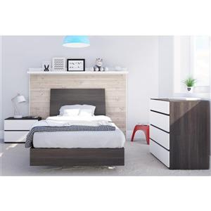 Nexera Momentum 4 Piece White and Ebony Twin Bedroom Set