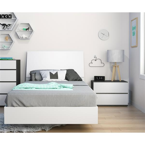 Nexera Acapella 3 Piece White and Ebony Twin Bedroom Set