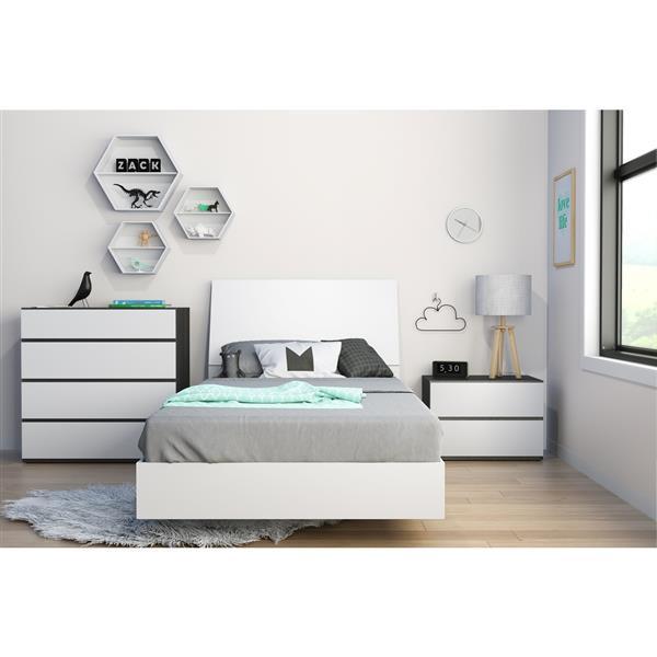 Ens. de chambre à coucher simple, 4 mcx, blanc/ébène