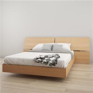 Ens. de chambre à coucher Nexera grand lit, 2 mcx, érable