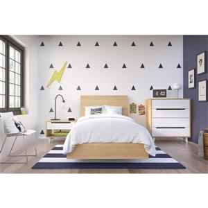 Nordik 4 Piece Maple and Walnut Twin Bedroom Set