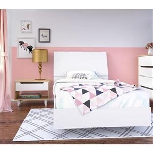 Nordik 3 Piece Maple and White Twin Bedroom Set