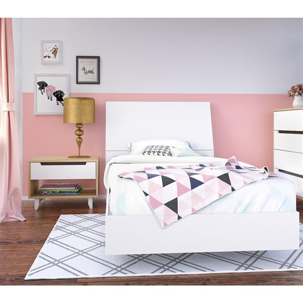 Ens. de chambre à coucher Nordik simple, 3 mcx, érable/blanc