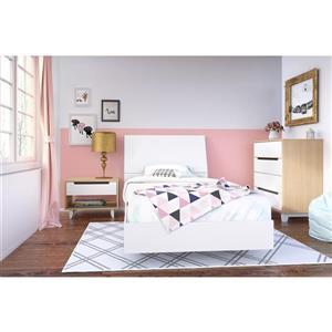 Ens. de chambre à coucher Nordik simple, 4 mcx, érable/blanc