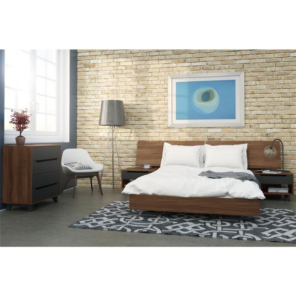 Nexera Alibi 5 Piece Walnut Queen Bedroom Set