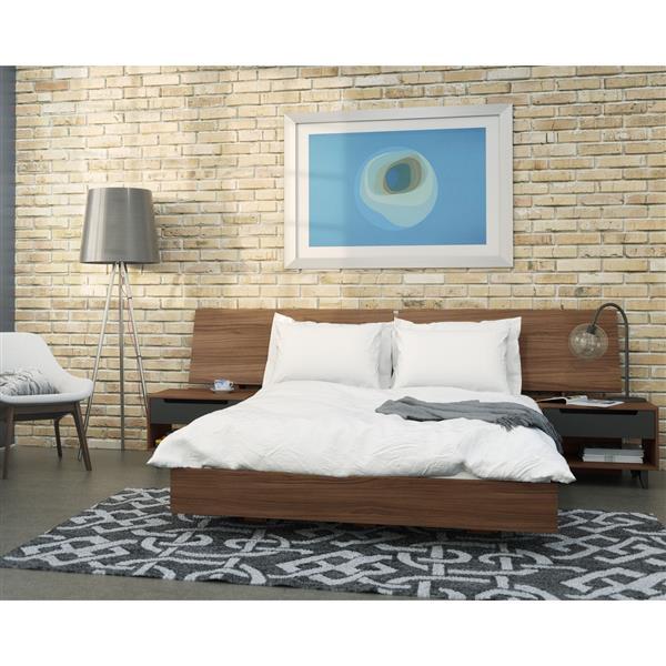 Ens. de chambre à coucher Alibi grand lit , 4 mcx, noyer