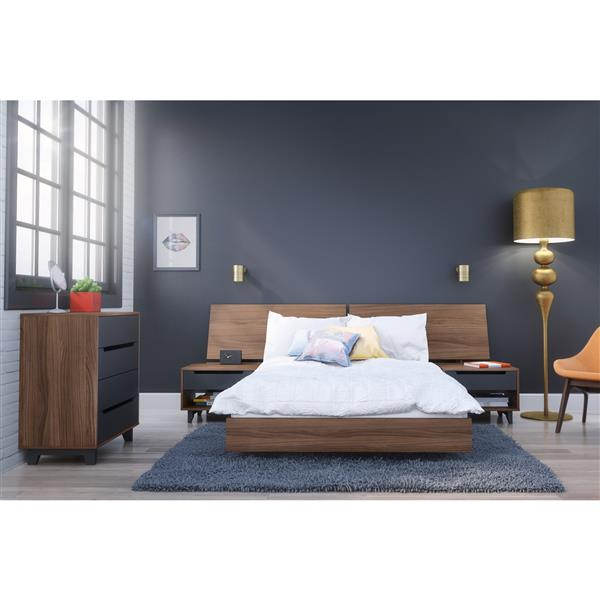 Nexera Alibi 5 Piece Walnut Full Bedroom Set