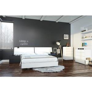 Ens. de chambre à coucher grand lit, 6 mcx, blanc/noir