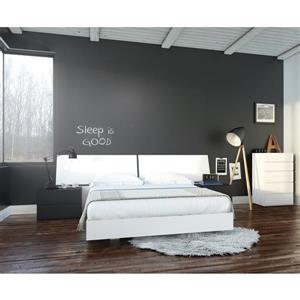 Ens. de chambre à coucher grand lit, 5 mcx, blanc/noir
